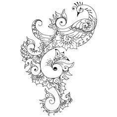 TATTOO TRIBES: Tattoo of Mehndi style peacock, Love, passion tattoo,mehndi mehandi henna peacock tattoo - royaty-free tribal tattoos with meaning Henna Peacock, Peacock Tattoo, Peacock Art, Feather Tattoos, Peacock Design, White Peacock, Ring Tattoos, Tattoo Coloring Book, Coloring Books