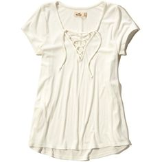 Hollister Must-Have Easy Lace-Up T-Shirt ($20) ❤ liked on Polyvore featuring tops, t-shirts, white, white tee, lace up front top, white ribbed top, laced tops and white top