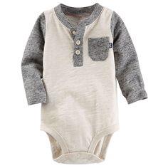 Baby Boy OshKosh B'gosh® Slubbed Henley Bodysuit, Size: