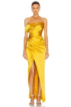 Event Dresses, Ball Dresses, Satin Dresses, Smocked Dresses, Couture Dresses, Fashion Dresses, Yellow Gown, Style Personnel, Drape Gowns