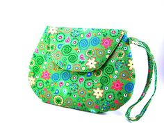 Small Bright Green Clutch Purse with Colorful by TrampLeeDesigns, $16.00