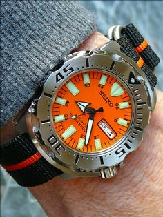 Seiko Orange Monster.  I wanted to show this beast on someone's wrist so you could get a feel for the size. They don't call it Monster for nothing.