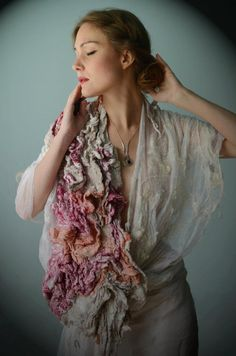 materials: silk gauze, merino wool, Teeswater wool, flax, raw silk natural dyes: madder, cochineal, walnut