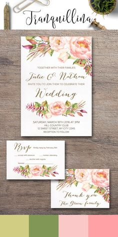 Floral Rustic Wedding Invitation Set, Wedding Stationery, Wedding Ideas, Elegant Wedding Invite with matching rsvp & thank you card, sold separately or as a set. To see more floral boho inspired invitations with coordinating menu, signs and cards follow the link: tranquillina.etsy.com