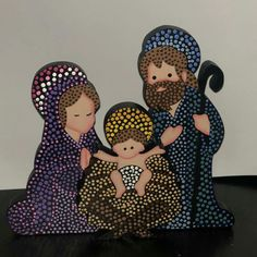 Dot Art Painting, Mandala Painting, Stone Painting, Mandela Art, Santa Crafts, Mary And Jesus, Mandala Dots, Christmas Projects, Craft Fairs