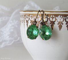 Peridot Green Earrings Rhinestone Earrings Elegant Dangle Earrings Vintage Oval Glass Jewels Antique Brass Lever Back Ear-wires (15.00 USD) by naryaboutique