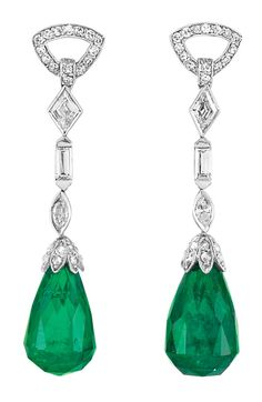A Pair of Art Deco Platinum, Diamond and Emerald Briolette Pendant-Earclips. Topped by a line of two delicate diamond-set triangle links, 2 diamond-shaped, 2 baguette and 2 marquise-shaped diamonds, suspending 2 emerald briolettes approximately 12.6 x 8.2 mm., with rose-cut diamond caps, circa 1920. #ArtDeco #EarClips