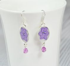 Puprle  polymer clay silver plated hanging earrings by NuritNaor, $17.00