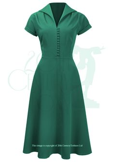 1940s Style Hostess Dress in Emerald 40s New Look
