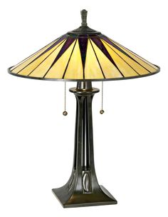 Quoizel Gotham Antique Bronze Tiffany Style Table Lamp -25 inch high