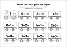 A simple cut and stick activity where children cut out the engines and carriages that match and stick them together to make a train. Teaching Subtraction, Subtraction Activities, Teaching Math, Preschool Activities, Numeracy, Maths For Beginners, Addition Activities, Free Teaching Resources, Teaching Ideas