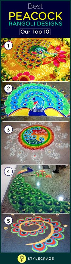 India's national bird, Peacock is most famous for its vibrant and colourful feathers made up of blue, green, yellow etc. It's a beautiful sight when the Peacock holds up his feathers in happiness. We Indians have taken inspiration for generations from this beautiful bird and this can be seen reflected in our Rangolis.