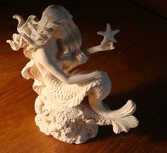 Mermaid Sand Sculptures | White Mermaid Holding Starfish on Coral Rock Sculpture Statue Figurine ...