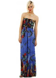 Floral Print Blue Strapless Maxi Dress