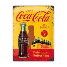 Plaque en métal 30 X 40 cm : Coca-Cola publicité rétro jaune et ...