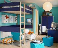 Bedroom Fancy Cyan Blue Bedroom With Ikea Loft Bed Plus Round ...