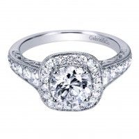 Gabriel NY 14k White Gold Victorian Halo Engagement Ring