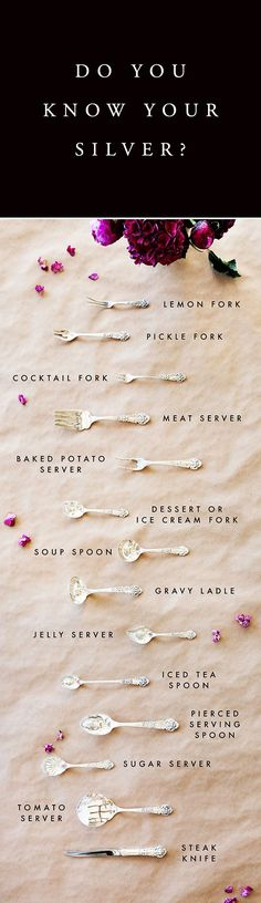 A guide to identifying all the different types of vintage silverware -- will come in handy for holiday gatherings!