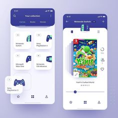 "UI/UX Inspiration on Instagram: ""🎮 Access all games, books and music you have in your library right from your 📱! Concept application for collectors by @jbrykowicz…"" Ui Design Mobile, App Ui Design, Web Design Trends, Interface Design, Design Design, User Interface, Tablet Apps, Conception D'applications, Library App"