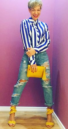 Pretty #blue And #white #stripes #buttondownshirt #distressed #jeans #yellow #highheels #sandals And #purse #summeroutfit #womenfashion2018 #summer #summer2018