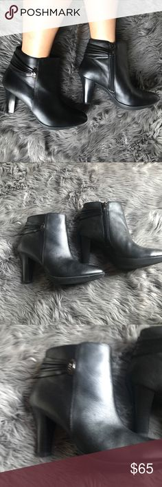 Anne Klein leather booties Black leather booties. Size 6.5 brand new in box never worn. Originally paid $119 for these. Lovely and super comfortable booties. True to size the heel is 3 inches 1/2. Purchased from Macy's. Anne Klein Shoes Ankle Boots & Booties