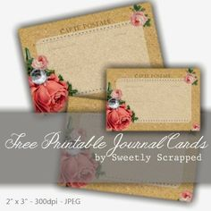 Sweetly Scrapped: Free Printable Rose Journal Cards