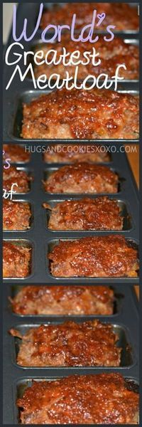 This is the best meatloaf ever! Thanks for the recipe Mom! Youll Need: MINI Loaf Pan! Preheat oven Bake in a round pyrex dish or in nonstick mini loaf pan. Ingredients: 1 or 1 pound meatloaf mix (Meatloaf mix is sold in one package and is Ground Beef Recipes, Pork Recipes, Cooking Recipes, Oven Recipes, Amish Recipes, Meatball Recipes, Sirloin Recipes, Kabob Recipes, Meat Recipes
