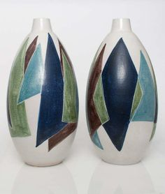 Mette Doller and Erik Ivarsson; Glazed Ceramic Vases for Höganäs Keramik, c1950.