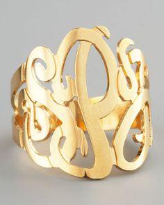 Jennifer Zeuner Three-Initial Monogram Ring - Neiman Marcus. Monogram Rings-A MUST HAVE! So classy, and you will have it forever.