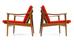 Pair of Teakwood Lounge Chairs by Fredrik Kaiser, Norway | From a unique collection of antique and modern lounge chairs at https://www.1stdibs.com/furniture/seating/lounge-chairs/