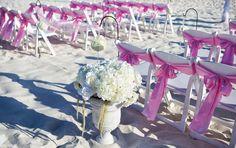 pink wedding ceremony on the beach in destin florida by princess wedding gco
