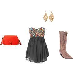 cowboy boots and dress!, created by #khessong11 on #polyvore. #fashion #style Steve Madden Dooney & Bourke