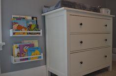 nursery bookshelf using ikea spice racks