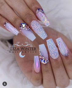 50 Magical Unicorn Nail Art DesignsMany people have a passion for unicorn nails. And Unicorn nails are becoming a unique trend. If you think you have a different opinion, you should take a closer look Rhinestone Nails, Bling Nails, My Nails, Bling Nail Art, Glitter Nails, Fancy Nail Art, Swarovski Nails, Gradient Nails, Crystal Nails