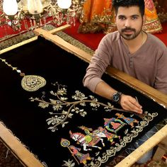 Image may contain: 1 person, sitting and indoor Embroidery Suits Punjabi, Zardozi Embroidery, Hand Embroidery Flowers, Hand Work Embroidery, Embroidery On Clothes, Embroidery Motifs, Embroidered Clothes, Beaded Embroidery, New Embroidery Designs