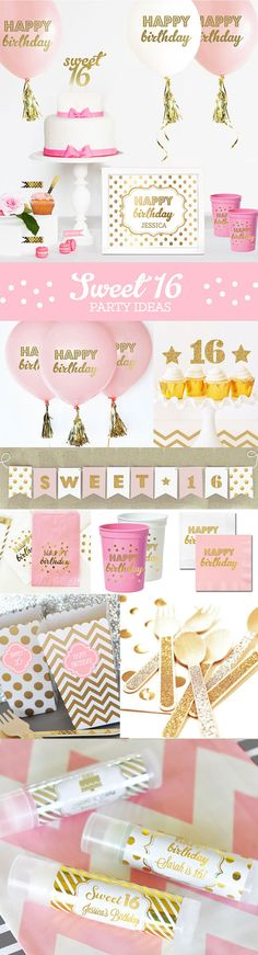 Sweet 16 Ideas for a Sweet 16 Cake Topper, Sign, Banner Balloons, Napkins Favors and more! by Mod Party