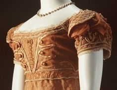 1820 Copper Evening Dress -bodice & sleeve Deconstruction of gown details.
