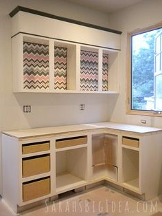 how to add fabric to the inside of kitchen cabinets