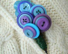 Electric Indigo  - Button Pin Boutonniere