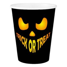 Jack O Lantern Pumpkin Halloween Trick or treat Paper Cup - kids kid child gift idea diy personalize design