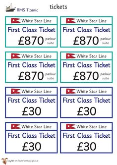 Teacher's Pet - Titanic Roleplay Tickets - FREE Classroom Display Resource - EYFS, KS1, KS2, iceberg, 1900s, disaster, captain, ship, transport, role, play