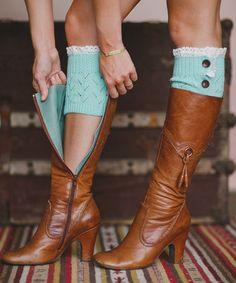 Love this Mint Lace-Trim Boot Cuff by Three Bird Nest on #zulily! #zulilyfinds