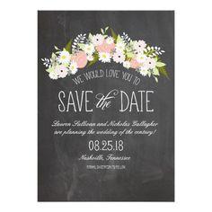 Tafel-Blumen in der Blüte Save the Date Einladungskarten