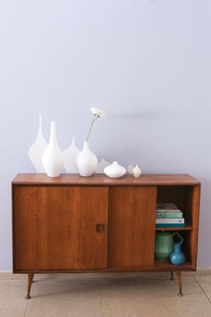 We've highlighted these classic vases with a drop-shadow paint effect. Do you have statement pieces in your home? Dulux Valentine, Paint Effects, Mid Century Modern Furniture, Living Room Inspiration, Mid-century Modern, Living Spaces, Cabinet, Drop Shadow, Design