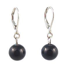 Glass Pearl Drop Earrings (10 mm) - Black (E124)