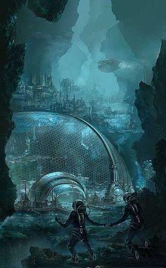 It's my Cake Day so I got a Cyberpunk art dump for you all. Fantasy City, Fantasy Places, Sci Fi Fantasy, Fantasy World, Atlantis, Art Pulp, Science Fiction Kunst, Science Fiction Magazines, Sci Fi City