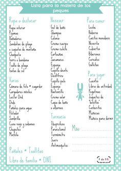 Impimible Lista de cosas que no hay que olvidar cuando uno tienen hijos y se va de vacaciones Printable List Things you do not have to forget when you are preparing the lugagges of your children.