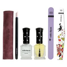 withshyan Nail Care Set for Baby Soft Nails, Eraser, Pusher, Treatment Oil, Suede Case & Nail Pile( 2 types) Included About the product Withshyan Nail Care best 5 kinds SET consists of an Eraser , Pusher, Treatment oil and two types of Nail pile. It is used for an effective nail care. Eraser softens nail cuticles. Eraser can be used before gel nail polish. Apply the oil on the Nails and Nail pile. It is a complete basic nail care package.