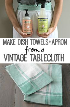 Learn how to turn a worn tablecloth into dish towels and aprons! Adorably easy DIY project!