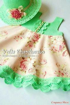 48 Best Ideas for sewing baby dress fabrics Crochet Toddler, Baby Girl Crochet, Crochet Baby Clothes, Crochet For Kids, Crochet Yoke, Crochet Fabric, Toddler Dress, Baby Dress, Girls Sweaters